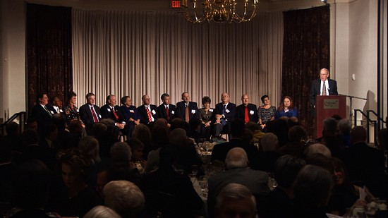 2010 Arkansas Preservation Awards- Award Winners on stage with MC John Gill © Pryor Center for Arkansas Oral and Visual History, University of Arkansas