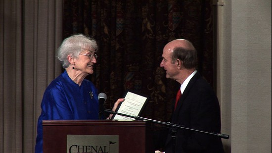 2010 Arkansas Preservation Awards- William Nolan accepts the lifetime achievment award for his mother, Theodosia Nolan, from Frances Ross © Pryor Center for Arkansas Oral and Visual History, University of Arkansas