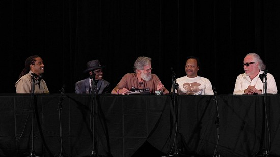 Still frame from Pryor Center video of Call and Respones, The Blues Symposium - Panel 2 at the Malco theater; Helena, Arkansas, 2016 © Pryor Center for Arkansas Oral and Visual History, University of Arkansas