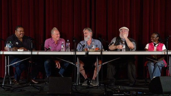 Still frame from Pryor Center video of Call and Response, The Blues Symposium - Panel 2 at the Malco theater; Helena, Arkansas, 2017 © Pryor Center for Arkansas Oral and Visual History, University of Arkansas