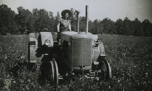 Woman on tractor, ca. 1944; Dorris Vick Collection MC961 © Pryor Center for Arkansas Oral and Visual History, University of Arkansas