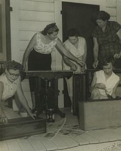 Refinishing furniture, Hazel Wayman, Ms. Smith, Edith Merryman, Louella Nease, and Ms. Hinaley of the Daniel HDC, 1959; Garland County Extension Homemaker's Club Records MC1117 © Pryor Center for Arkansas Oral and Visual History, University of Arkansas