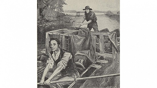 Sketch of William Woodruff sailing up the Mississippi River with his printing presses in 1819. ©