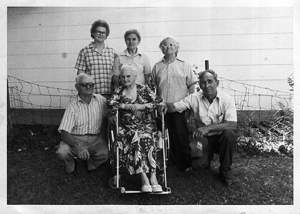 Maudie Junior's 97th birthday with her family; (front row) Aldon Adcox, Maudie Junior, Eugene Junior; (back row) Ila Adcox, Madge Kaminski, Lillie Ford © Pryor Center for Arkansas Oral and Visual History, University of Arkansas