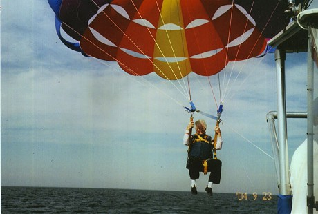 Ila Adcox parasailing in Wisconsin, 2004 © Pryor Center for Arkansas Oral and Visual History, University of Arkansas