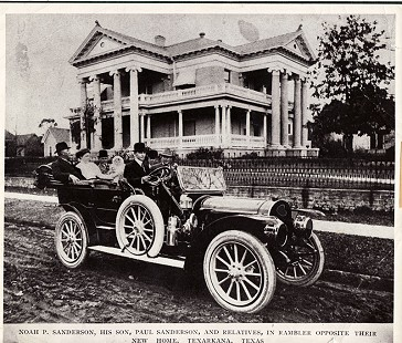 Noah P. Sanderson and family in 1912 Rambler; new family home in Texarkana in background  © Pryor Center for Arkansas Oral and Visual History, University of Arkansas