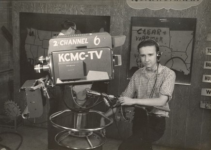 Morris Arnold, age 16, behind camera at KCMC-TV in Shreveport, Louisiana; ca. 1958 © Pryor Center for Arkansas Oral and Visual History, University of Arkansas