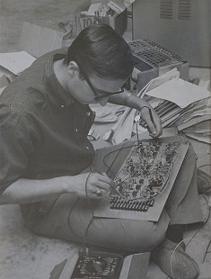 Morris Arnold, age 19, building control board for film projection system at KTAL-TV; ca. 1961 © Pryor Center for Arkansas Oral and Visual History, University of Arkansas