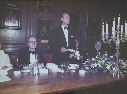 Morris Arnold with Prince Philip at the centenary celebration of the Selden Society; Gray's Inn, London; ca. 1988 © Pryor Center for Arkansas Oral and Visual History, University of Arkansas