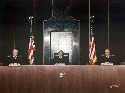 Judge Richard S. Arnold, Judge Theodore McMillian, and Judge Morris S. Arnold on the bench of 8th Circuit Court of Appeals, ca. 1986 © Pryor Center for Arkansas Oral and Visual History, University of Arkansas
