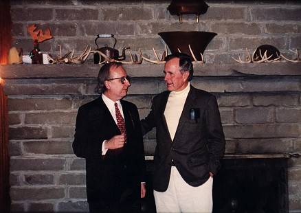 "Judge Morris ""Buzz"" Arnold with President George H. W. Bush © Pryor Center for Arkansas Oral and Visual History, University of Arkansas"