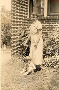 Jim Blair with his grandmother, Bessie Blair, outside home in Fayetteville, Arkansas, 1938 © Pryor Center for Arkansas Oral and Visual History, University of Arkansas
