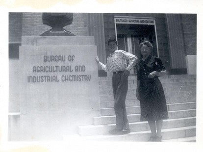 Jim Blair with his grandmother, Bessie, at the Bureau of Agricultural and Industrial Chemistry © Pryor Center for Arkansas Oral and Visual History, University of Arkansas