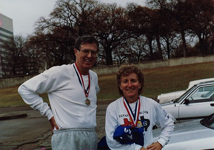 Jim Blair with his sister-in-law, Becky Ryder at the Whiterock Marathon in Dallas, Texas, 1987 © Pryor Center for Arkansas Oral and Visual History, University of Arkansas