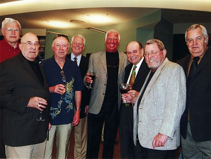 "Jim Blair and friends: Glenn Sowder, Lewis Ponder ""Hot"" Johnson, Jim Bexley, Patrick Brosh, Jim Blair, Wayne Barrack, James ""Doc"" Holliday, and Doy Gillihan, 2007 © Pryor Center for Arkansas Oral and Visual History, University of Arkansas"