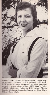 Phyllis Dillaha (Brandon) photograph in <i>Razorback</i> annual; 1957 &copy; Pryor Center for Arkansas Oral and Visual History, University of Arkansas