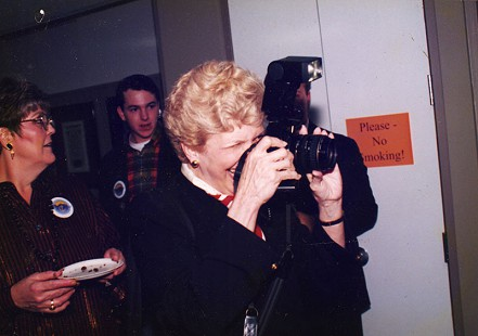 Phyllis Brandon taking a photograph © Pryor Center for Arkansas Oral and Visual History, University of Arkansas