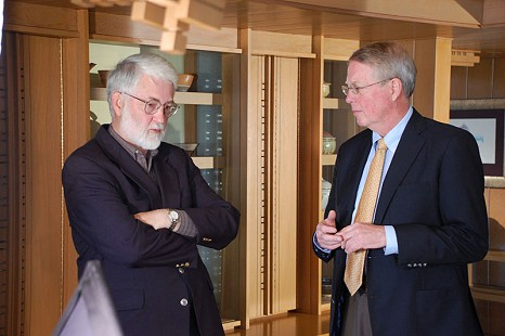 Robert L. Brown (right) with Tom Dillard at Sandy Edwards's residence; Fayetteville, Arkansas, 2009 © Pryor Center for Arkansas Oral and Visual History, University of Arkansas