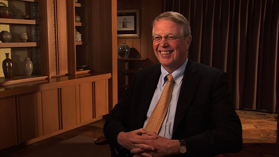 Still frame from Pryor Center video interview with Justice Robert L. Brown at Sandy Edwards's residence; Fayetteville, Arkansas, 2009 © Pryor Center for Arkansas Oral and Visual History, University of Arkansas