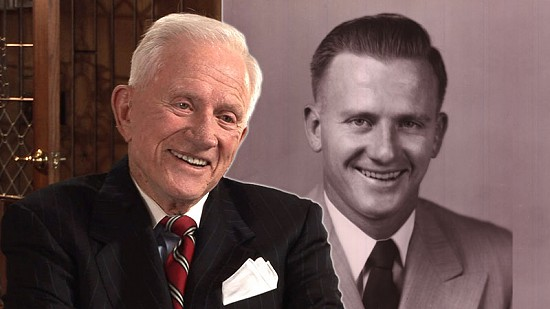 Composite image of early photo of Frank Broyles and still frame from Pryor Center video interview © Pryor Center for Arkansas Oral and Visual History, University of Arkansas
