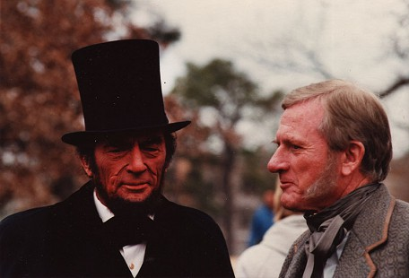 Gregory Peck and Frank Broyles filming an episode for the television miniseries <i>The Blue and the Gray </i> in Fayetteville, Arkansas © Pryor Center for Arkansas Oral and Visual History, University of Arkansas