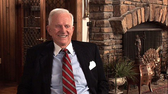Still frame from Pryor Center video interview with Frank Broyles at David and Betsy Arnold's residence; Fayetteville, Arkansas, 2007 © Pryor Center for Arkansas Oral and Visual History, University of Arkansas