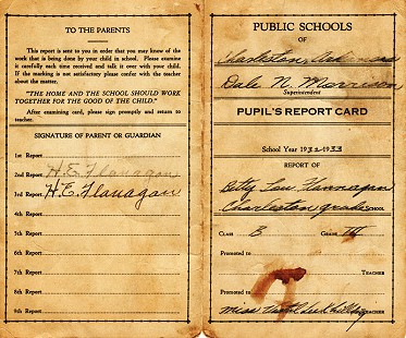 Betty Lou Flanagan's third-grade report card, front and back, 1932–1933 © Pryor Center for Arkansas Oral and Visual History, University of Arkansas