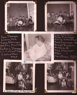 Page from photo album with Dale Bumpers in center photo holding his son, Brent; also pictured are 4 generations of Flanagans: (text on page) Papa Flanagan holding Joe Flanagan, Babe Flanagan holding Brent, Callans Flanagan, his three oldest sons, three Shaffer boys; Fred Shaffer, Mike Flanagan, Kriss Shaffer, Tom Flanagan, Brent Bumpers, Archie III, Joe Flanagan, John Flanagan; Christmas 1952 © Pryor Center for Arkansas Oral and Visual History, University of Arkansas