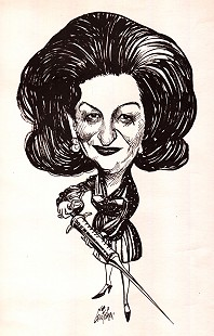 Betty Bumpers caricature by George Fisher for the Every Child By Two - Carter/Bumpers Campaign for Early Immunization © Pryor Center for Arkansas Oral and Visual History, University of Arkansas