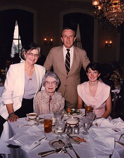 "Dale Bumpers with his wife, Betty, daughter, Brooke, and close family friend, Henrietta ""Hu Hu"" (seated on left), in the US Senate Dining Room in Washington, DC; January 1985 © Pryor Center for Arkansas Oral and Visual History, University of Arkansas"