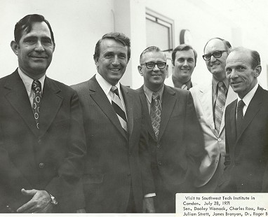Left to right: Senator Dooley Womack, Governor Dale Bumpers, Charles Ross, Representative Juliam Strett, James Branyan, and Dr. Roger Bost at the Southwest Tech Institute in Camden, Arkansas; July 28, 1971 © Pryor Center for Arkansas Oral and Visual History, University of Arkansas
