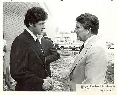 Governor Dale Bumpers (right) and Bill Clinton at the <i>Southwest Times Record</i> groundbreaking ceremony in Fort Smith, Arkansas; August 23, 1974 © Pryor Center for Arkansas Oral and Visual History, University of Arkansas