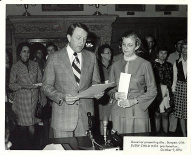 Governor Dale Bumpers presenting the Every Child by '74 proclamation to his wife, Betty; October 9, 1974  © Pryor Center for Arkansas Oral and Visual History, University of Arkansas
