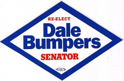 """Re-elect Dale Bumpers Senator"" bumper sticker from the 1992 campaign © Pryor Center for Arkansas Oral and Visual History, University of Arkansas"