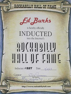 Ed Burks's certificate of induction into the Internet's Rockabilly Hall of Fame © Pryor Center for Arkansas Oral and Visual History, University of Arkansas