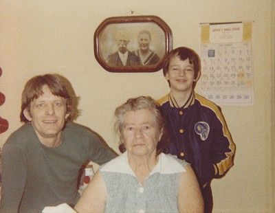 Terry Cagle with his grandmother, Agnes Wilson, and son, Wade; 1980 © Pryor Center for Arkansas Oral and Visual History, University of Arkansas