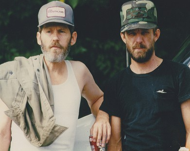 Terry Cagle and his uncle, Levon Helm, on the movie set of <i>End of the Line</i>, 1986 © Pryor Center for Arkansas Oral and Visual History, University of Arkansas