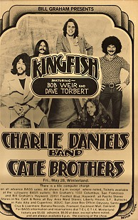 Playbill for Kingfish, Charlie Daniels Band, and Cate Brothers; 1976 © Pryor Center for Arkansas Oral and Visual History, University of Arkansas