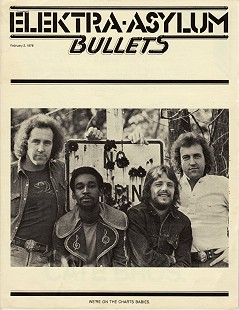 Elektra-Asylum <i>Bullets</i> featuring the Cate Bros. Band: (from left) Ernie Cate, Albert Singleton, Terry Cagle, and Earl Cate; February 2, 1976 © Pryor Center for Arkansas Oral and Visual History, University of Arkansas