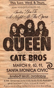 Newspaper advertisement for Queen plus special guests, Cate Bros., at the Santa Monica Civic Auditorium, March 1976                                © Pryor Center for Arkansas Oral and Visual History, University of Arkansas