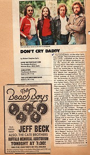 Article about The Cate Brothers from <i>Crawdaddy!</i> magazine, February 3, 1977, and an advertisement for The Cate Brothers with Jeff Beck and The Beach Boys at the Buffalo Memorial Auditorium, Buffalo, New York © Pryor Center for Arkansas Oral and Visual History, University of Arkansas