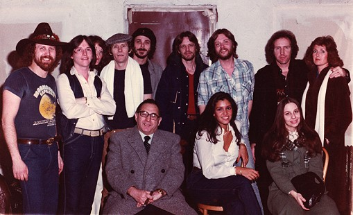 Ernie and Linda Cate (back row, right) with Levon Helm (4th from left), and Ron Eoff and Terry Cagle (to Helm's left) at the Lone Star Cafe in New York City; February 12, 1981 © Pryor Center for Arkansas Oral and Visual History, University of Arkansas