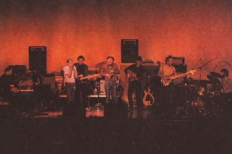 The Band performs during their Japan tour: (from left) Ernie Cate, Levon Helm, Earl Cate, Garth Hudson, Rick Danko, Ron Eoff, and Richard Manuel, 1983 © Pryor Center for Arkansas Oral and Visual History, University of Arkansas