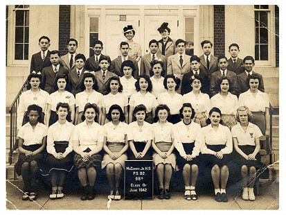 Margaret Clark (1st row on left) in class photo; MaComb's Jr. High School, P.S. 82; June 1942 © Pryor Center for Arkansas Oral and Visual History, University of Arkansas