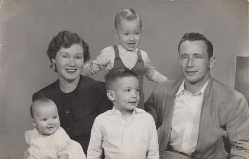 Garrard Conley's father, Hershel Edward Conley Jr. (front center) as a young boy with his parents, Evelyn Conley and Hershel Edward Conley Sr., and siblings, David Farley Conley (back center), and Jimmie Frances Conley (front left), January 1956  © Pryor Center for Arkansas Oral and Visual History, University of Arkansas