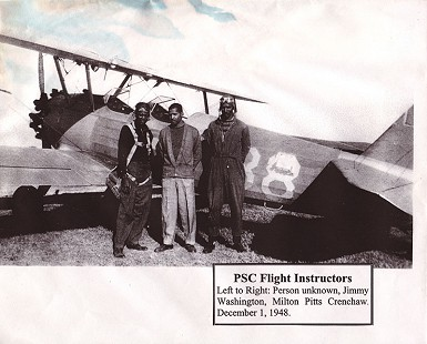 Philander Smith College Flight Instructors: (left to right): Person unknown, Jimmy Washington, Milton P. Crenchaw; December 1, 1948 © Pryor Center for Arkansas Oral and Visual History, University of Arkansas