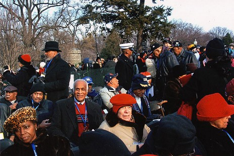 Milton P. Crenchaw (in red sweater) with other members of the Tuskegee Airmen at Barack Obama's 1st presidential inauguration; January 20, 2009                      © Pryor Center for Arkansas Oral and Visual History, University of Arkansas