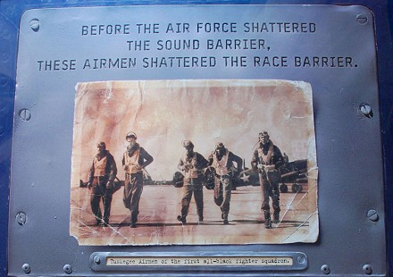 Plaque honoring the Tuskegee Airmen with a picture of members of the first all-black fighter squadron © Pryor Center for Arkansas Oral and Visual History, University of Arkansas