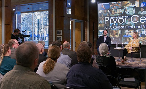 GarrardConley and Martha Jr. Conley on stage at the Pryor Center Presents event; Fayetteville, Arkansas, 2018 © Pryor Center for Arkansas Oral and Visual History, University of Arkansas