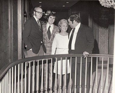 Ernie Dumas, Roy Bode, unidentified woman, and Jimmy Jones at J. N. Heiskell's 100th birthday party, November 1972 © Pryor Center for Arkansas Oral and Visual History, University of Arkansas